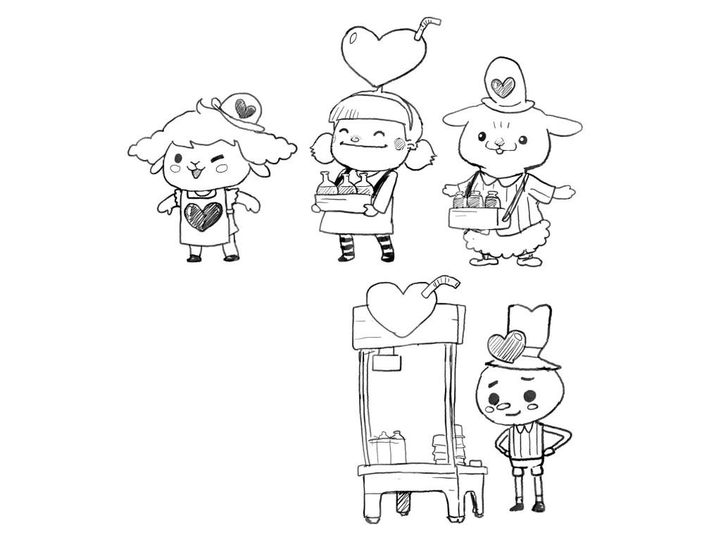 Heart Juice Vendor - Rough Sketch